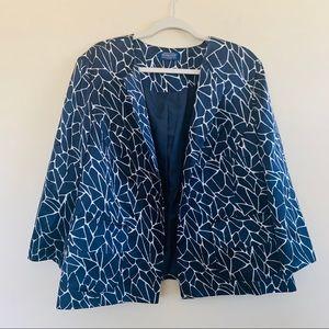 Pendleton Blue Pattern Silk Blend Open Blazer